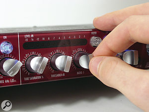 It's sensible to keep compression ratios under 4:1 at the recording stage — it's easy to add more compression at the mixing stage, but you can't remove recorded compression later if you find that it's too much. Similarly, you're usually better turning off any tube-saturation circuits or other processing gizmos.