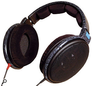 Closed-back headphones such as the Sennheiser HD250 (left) are more suitable for monitoring while recording than open-backed models such as the Sennheiser HD600 (below), because the former design reduces spill from the monitoring signal into the microphone.
