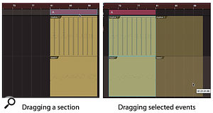 Screen 3: Dragging a section in the Arranger track (left) moves the section and the events it contains, but dragging the events themselves (right) will leave the section behind.