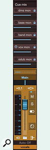 Screen 4: This song uses five cue submixes. Note that the vocal cue submix is the only active cue submix for this vocal submaster channel. The 'odub mon' mix is for returning existing material for punch-ins.