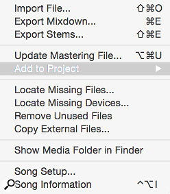 The Song menu enables you to add a Song document to a Project, or to update the mix in a Project when you've made changes to it.