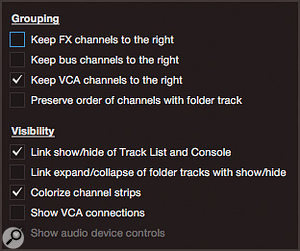 Screen 1: The Mixer Options dialogue contains many goodies for arranging mixer channels.