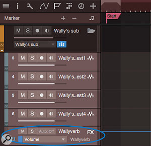 Screen 3: Creating an automation track and adding a parameter from an FX or VCA channel allows the channel to be included as a member in a folder track and handled together with related channels in the mixer.