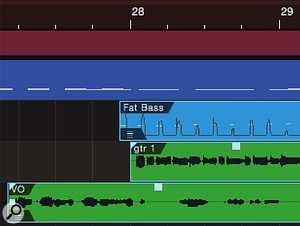 Screen 3b: Here, we have ripple edited by selecting on all three tracks and dragging the guitar event by two bars. Note that the guitar event now starts on the beat, but the bass is a little early.