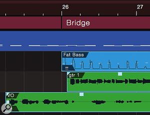 Screen 3a: Ripple editing multiple tracks with snap. At the top we see three beats of vocal (VO) pickup, then bass and guitar enter, bass right on the beat, guitar a little later.