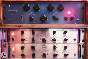 Outboard EQs include vintage Pultec and Lang units.