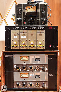 The remote preamp rack, a vital contributor to Nils Frahm's piano sound, comprises an RCA OP-6, several WSW preamps and a pair of converted Ampex 601 preamps from tape recorders.