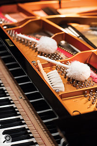Several types of brushes are on hand for unusual piano sounds.