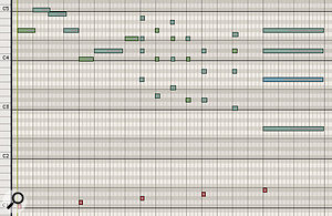 Diagram 3: The Piano Roll Editor display of the keyswitch sequence, showing the five keyswitches marked in red. In order to give your sample player a  little time to process incoming MIDI data, it's advisable to place keyswitches a  few ticks or milliseconds in advance of the played notes.