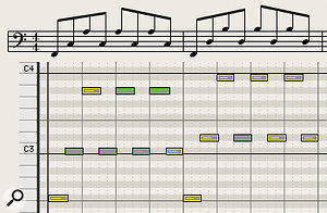 Diagram 7: The static block chords are replaced by mobile eighth-note cello arpeggios which impart rhythmic momentum while defining the harmony — a  classic orchestration device which would repay study by newbie composers!