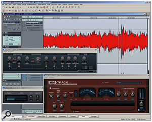 Samplitude's extensive library of bundled plug-ins includes the Am-track compressor and a De-esser.