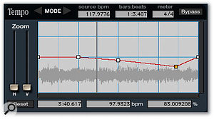 Pitch 'n Time's Variable Time-stretch panel allows you to create ritardando effects.