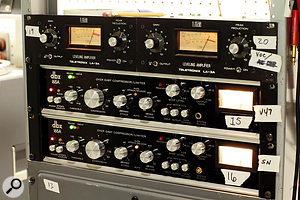 Kevin Augunas's relatively small selection of outboard gear includes these UREI LA-3A and dbx 165A compressors.