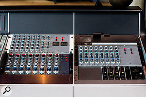 Numerous Neve channels of different types add to the channel count of the Big Room's SSL 9000K.