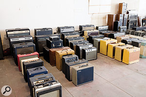 Woodrow Jackson's incredible gear collection includes this selection of guitar amplifiers.