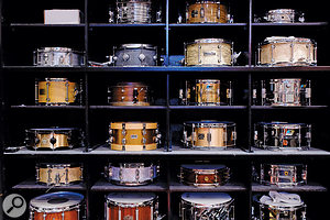 Part of the colossal selection of drums in the Studio A live room.