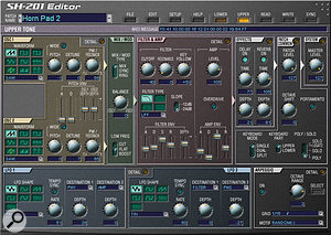 The SH201 Editor main screen closely reflects the controls found on the front panel of the hardware synth.