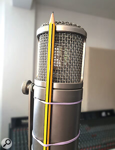 It may look a little DIY, but the pencil-on-a-mic trick can be very effective at taming sibilance.