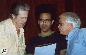Brian Wilson (left), his collaborator and original SMiLE lyricist Van Dyke Parks (right) and self-styled musical 'facilitator' Darian Sahanaja working to complete SMiLE in LA, late 2003.