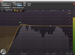 Minimal high-pass filtering and compression were needed on the vocals.