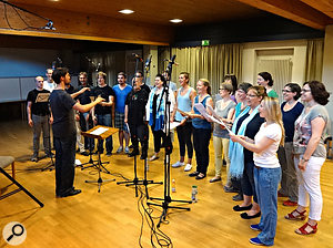 Recording a choir in a small village hall.