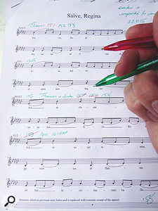 The sheet music was marked up to show which Pro Tools takes captured the best performances.