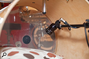 Taking the front head off the kick drum helped to give a much tighter sound from the band's Audix D6 mic.