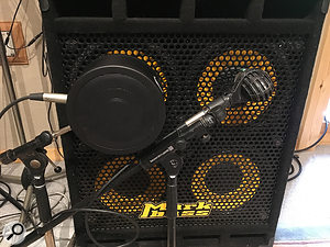 The Markbass cabinet was miked up with an AKG D112 and a  Subkick-style Solomon mic, but two DI signals were also captured for maximum flexibility — one direct from the instrument, and one post the Markbass head's preamp stage.