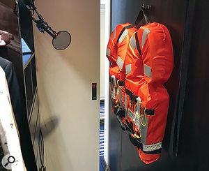Two bulky, foam-filled lifejackets helped to reduce reverberation in our early cabin-closet 'booth'... but a noisy overhead vent forced us to move. elsewhere.