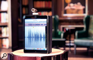 A Shure MV88 with an iPad and the app Twisted Wave in the ship's library — a room you might have expected to be quiet but which proved to be just as noisy as any other when the ship was at sea!