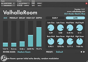 ValhallaRoom reverb was used to help create a  oom sound similar to the live room used to record the drums and piano.