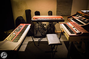 Setting up a'keyboard station' in a different space allowed the keyboardist to reach out and try a different instrument when desired.