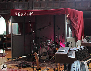 A drum 'cave' was erected, largely to help keep the sound close and tight, with the main image being captured not by the overheads, but by two pairs of room mics.