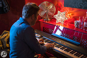 The Roland digital piano was chosen because it could act as a  good controller keyboard, but also as a  quick scratch-pad for ideas, given the onboard speakers.