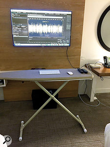 If you improvise, a hotel room can provide most of the tools you need to build a functional project studio.