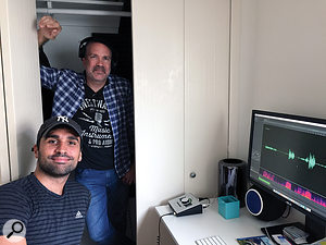We spent a night with voiceover colleagues in Santa Monica, California, before heading north on Highway 101. Notice the Kaotica Eyeball on the desk beside Eduardo Muniz. This is one of many products designed for voiceover talent who record at home or on the road.