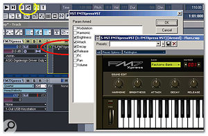 If you insert a VSTi by right-clicking on an audio track's FX bin and creating a MIDI track, then right-click on the instrument name (circled in red),you'll usually see a list of automatable parameters. To record instrument control movements, click on the toolbar's Record Automation button (circled in yellow).