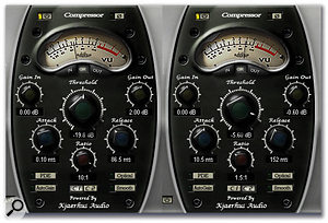 Two compressor setups are shown here side by side. The one on the left provides heavy 'squashing', while the one on the right adds a lightly compressed signal.
