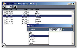 The Markers toolbar is located toward the centre right of this screen. Behind it is the Markers view, which shows all markers, plus their timings and names. The drop-down menu toward the toolbar's left is a stripped-down markers list that simplifies navigation.