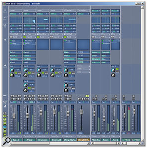 You can see the track, buss, and output panels. Note the frequency-response plot thumbnails, the four assignable sliders below the FX slot, and the ability to add arbitrary numbers of sends and busses. Virtually all elements can be shown/hidden.