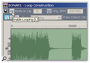 Clicking on Enable Looping turns the clip from a standard WAV file into a Groove Clip.