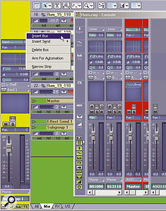 Right-click on any of the coloured areas to insert a bus (or delete it, for that matter). Note that these colours were added to the screenshot for clarity — Sonar is not normally this garish!