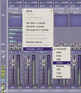 Click on a plug-in to display four assignable, adjustable, automatable parameters. The on-screen controls can be reassigned to other parameters as needed.