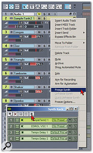 Sampletank 2 is about to be frozen. Note that there are two places where you can access the Freeze function for instruments.