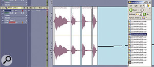 Once the MIDI sequence is in place, drag the slices saved by ReCycle on top of the notes, in the appropriate order. Delete the MIDI sequence when you're done.