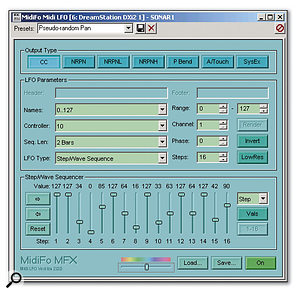 The MidiFo MIDI LFO plug-in is set up to produce a panning effect by generating controller 10 messages, as determined by the LFO's step sequencer waveform. In this example, the panning pattern repeats every two measures.