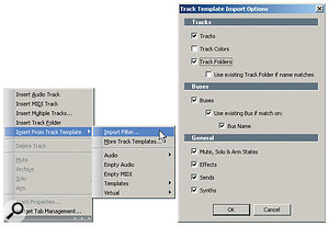 You can import entire track templates or, by using the Import Filter, just particular aspects of the template.