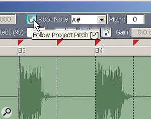 Here's the way to make a loop follow any key changes in the Project, as set by the Project pitch value.