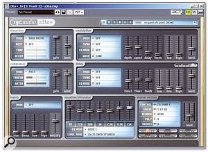 This screen shows z3ta+'s effects page, with the parameters set to give a breathing, pumping compression sound on drums.