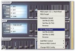 In this example, the modulation effect's Speed control has been restricted to a small range, as shown by the blue line in the fader's 'groove'. The pop-up menu shows that the Modulation Speed range has been restricted, but the Mod Wheel travels over its full range to cover this restricted range, thus providing a type of fine tuning.